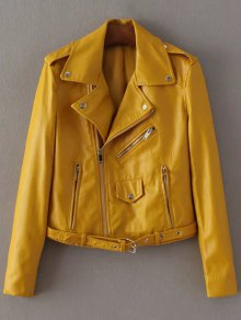 Lapel Collar Zippers Faux Leather Jacket - Yellow