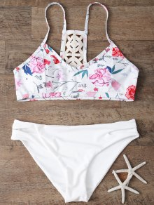 Low Rise Floral Bikini Set - White L