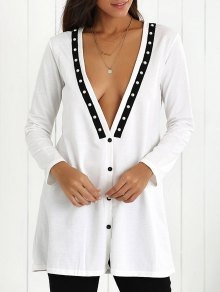 Plunging Neck Button Down Beaded Cardigan