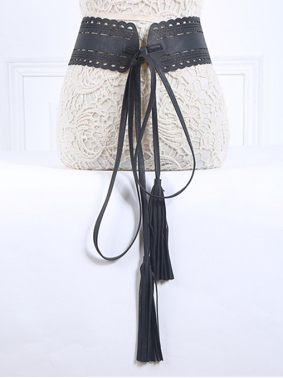 women's Long Tassel Pendant Lace-Up PU Belt - BLACK
