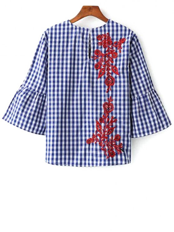 Flare Sleeve Checked Embroidered Blouse - PLAID M Mobile