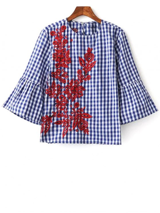 Flare Sleeve Checked Embroidered Blouse - PLAID S Mobile