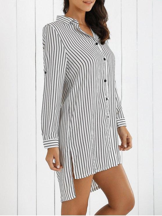 latest Boyfriend Striped Shirt Dress - WHITE S