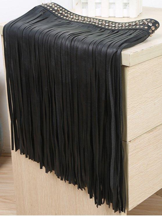 online Rivet Long Tassel Skirt PU Belt - BLACK