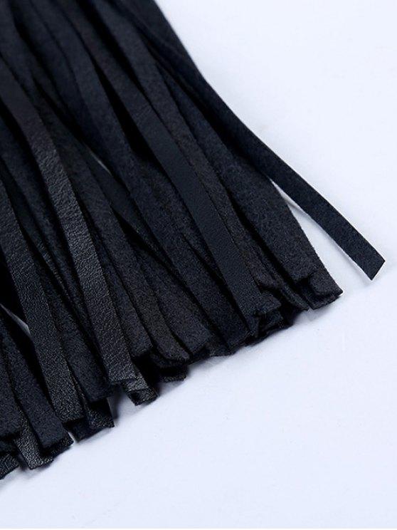 Rivet Long Tassel Skirt PU Belt - BLACK  Mobile