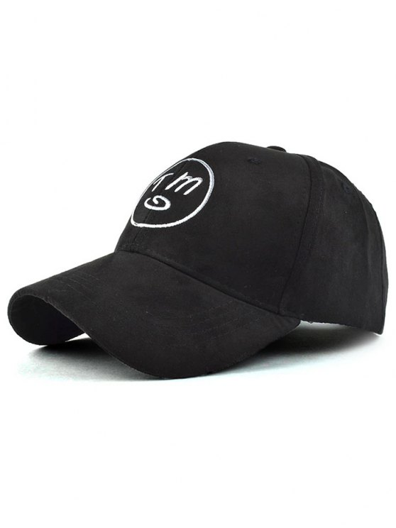 sale Round Faux Suede Baseball Hat - BLACK