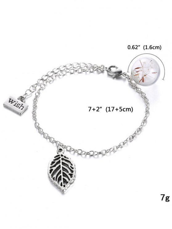 Leaf Glass Dry Dandelion Wish Bracelet - SILVER  Mobile
