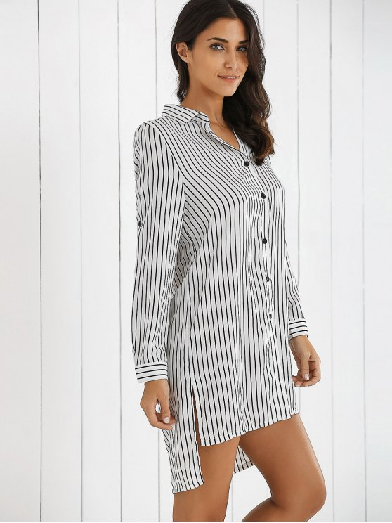 Boyfriend Striped Shirt Dress - WHITE L Mobile