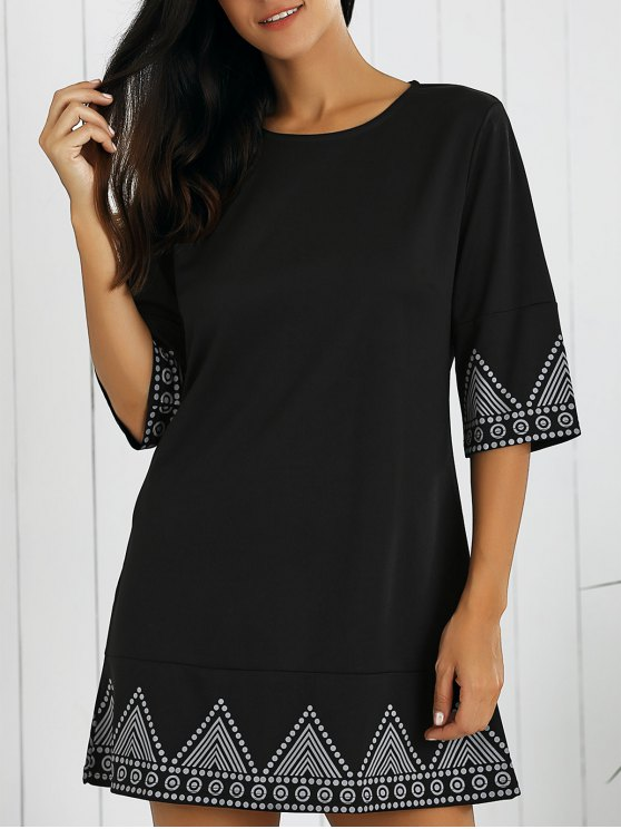 Print Round Neck Mini Dress - BLACK L Mobile