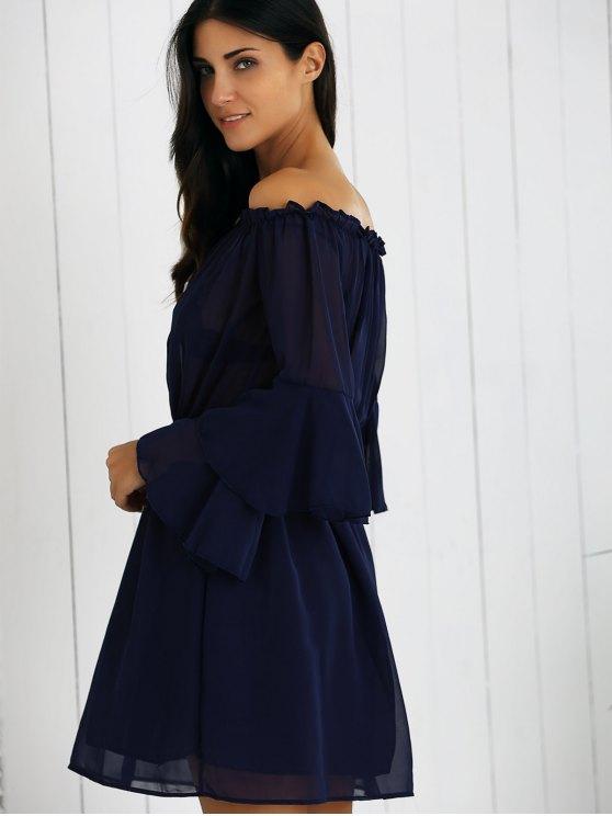 Off Shoulder Bell Sleeve Chiffon Dress - DEEP BLUE M Mobile