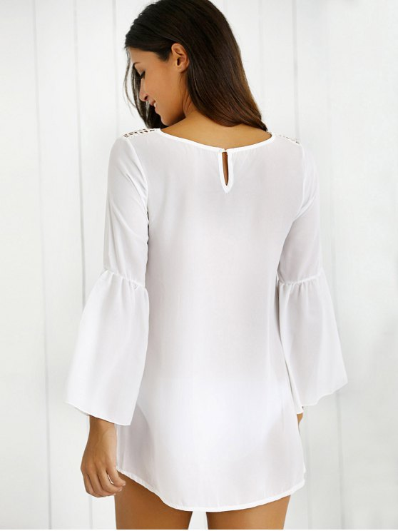 Hollow Out Slit Sleeve Dress - WHITE M Mobile