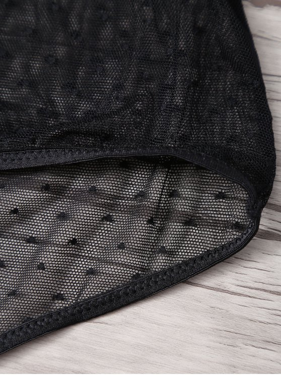 High Waisted Polka Dot Bra Set - BLACK XL Mobile