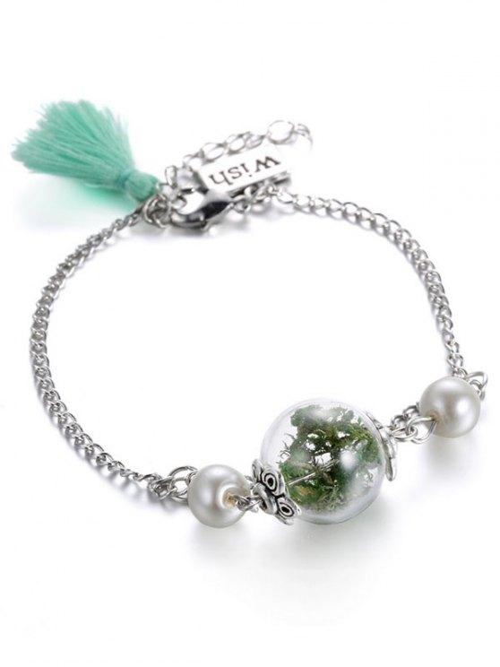 Glass Dry Plant Faux Pearl Tassel Bracelet - GREEN  Mobile