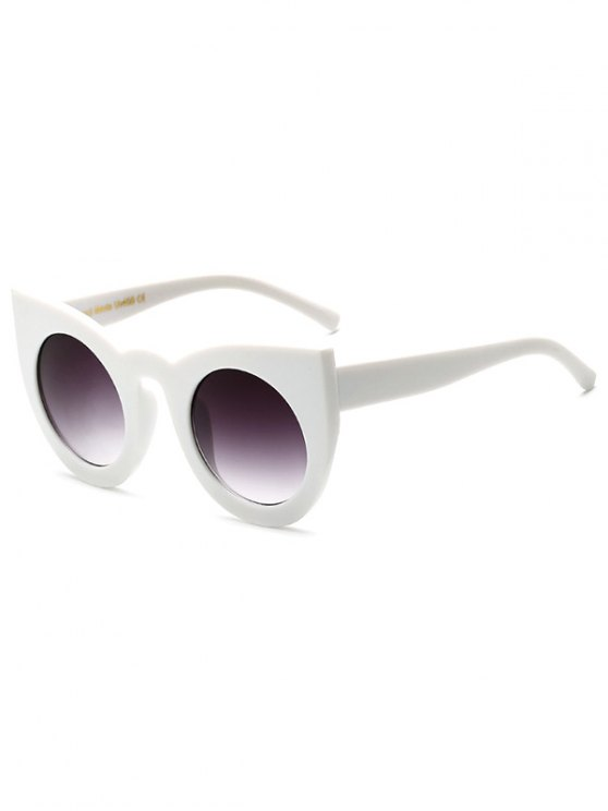 outfits Round Lens Cat Eye Sunglasses - WHITE