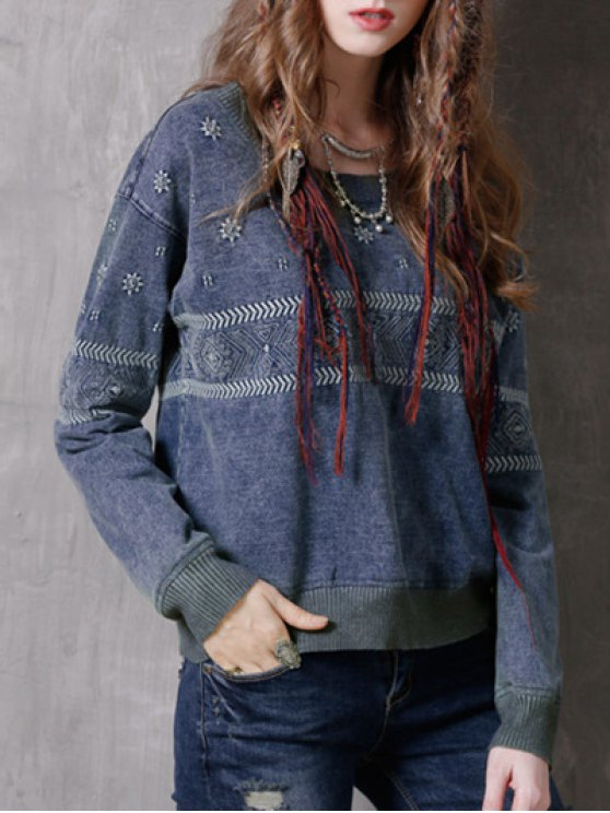 Denim Embroidered Sweatshirt - BLUE ONE SIZE Mobile