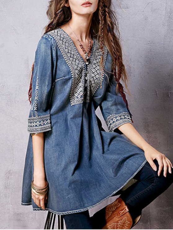 Denim Flared Bib Dress - BLUE M Mobile