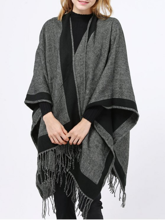 Herringbone Tassel Wrap Pashmina - BLACK  Mobile