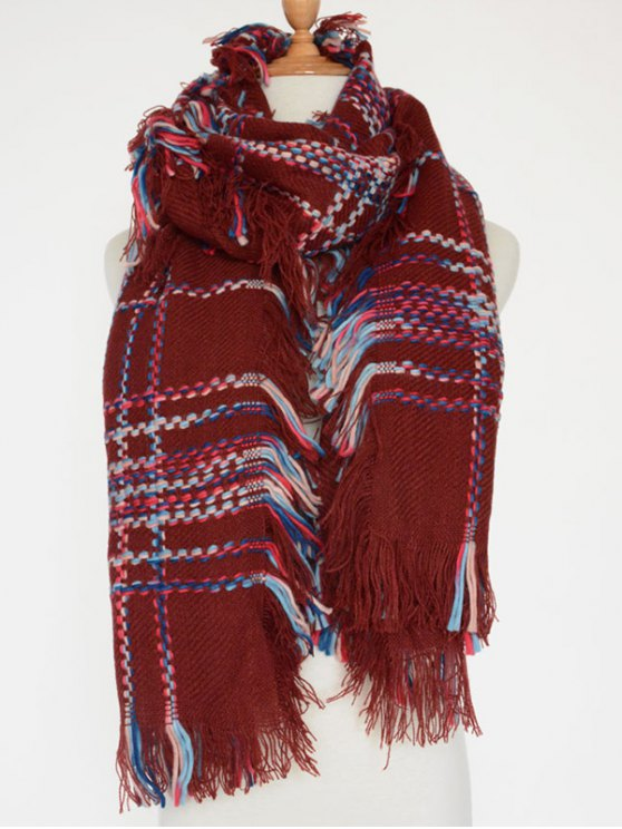 Plaid Braid Fringed Shawl Scarf -   Mobile