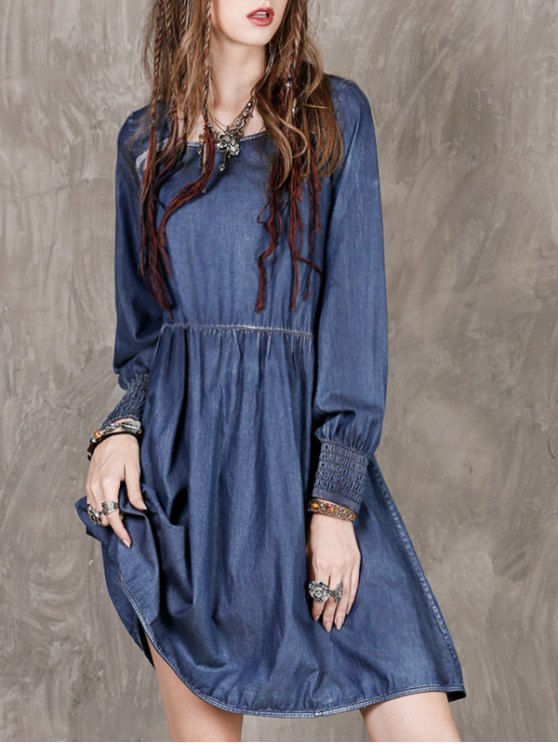lady Long Sleeve Vintage Denim Dress - BLUE M