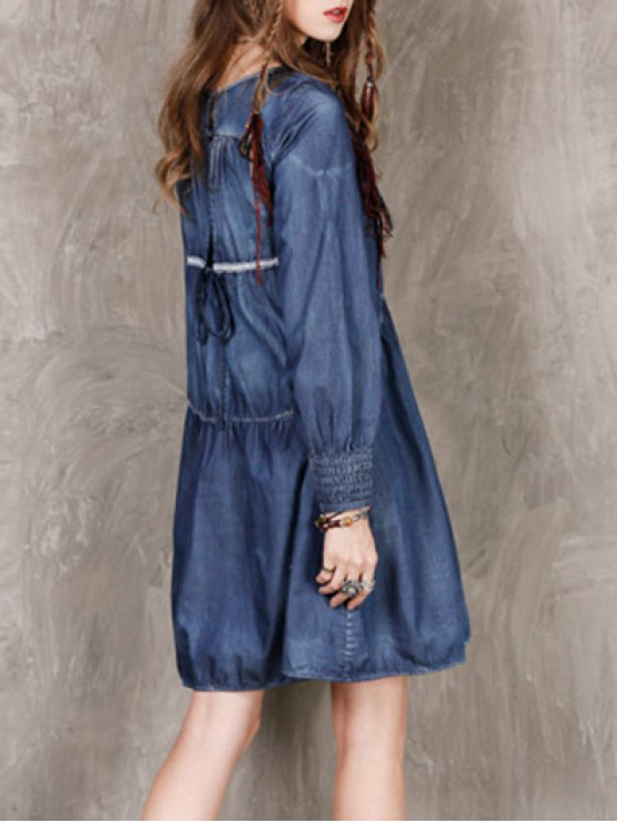 Long Sleeve Vintage Denim Dress - BLUE M Mobile