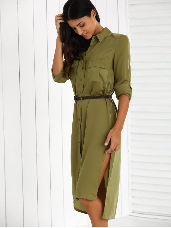 Split High Low Military Shirt Dress with Pocket - GREEN S Mobile
