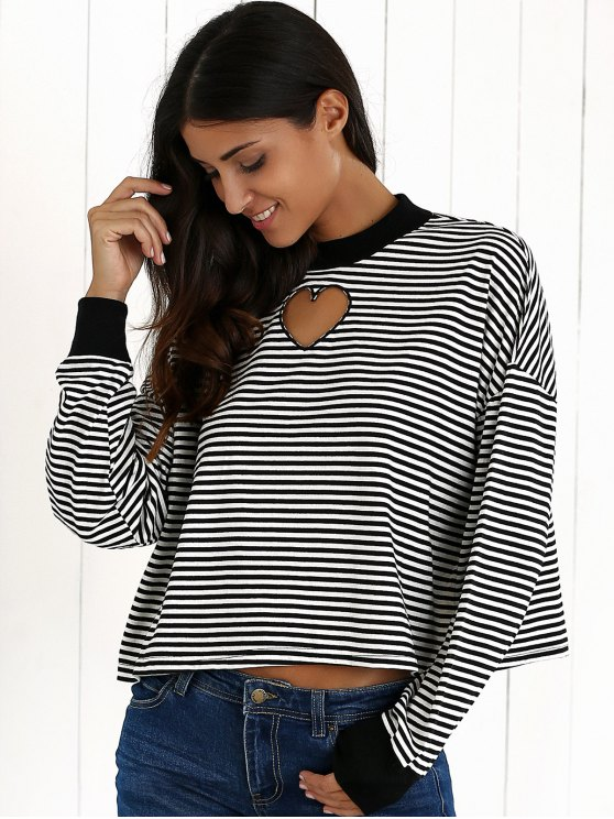 Stripe Long Sleeve Cutout Sweatshirt - WHITE AND BLACK S Mobile