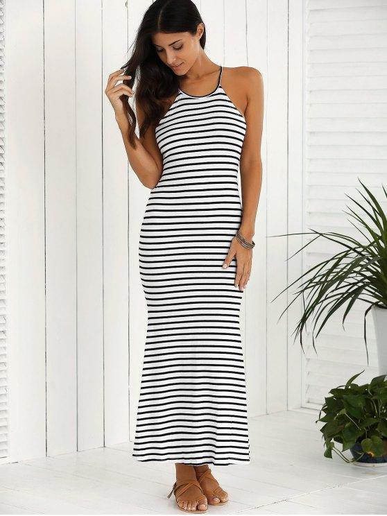 Halter Striped Maxi Dress - WHITE AND BLACK 2XL Mobile