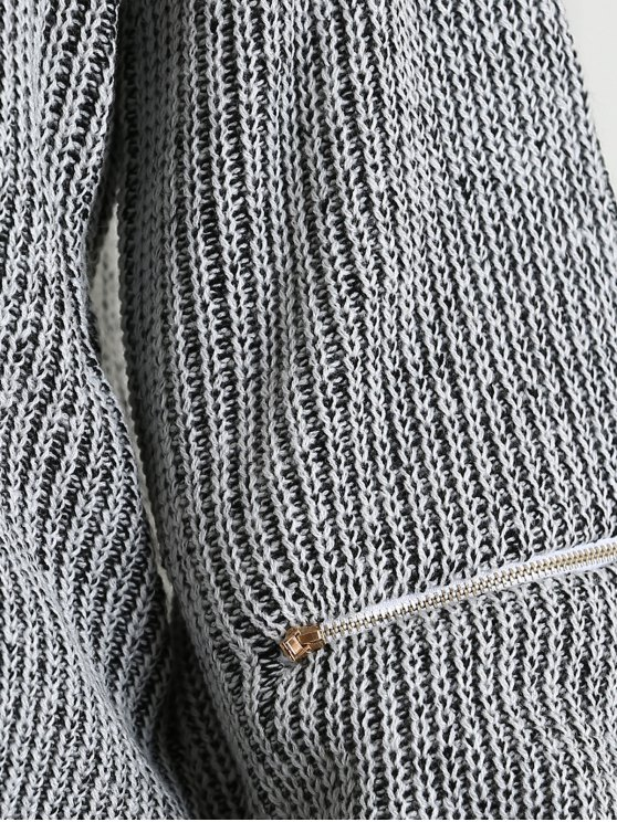 V-Neck Zipper Sleeve Pullover Sweater - DEEP GRAY ONE SIZE Mobile
