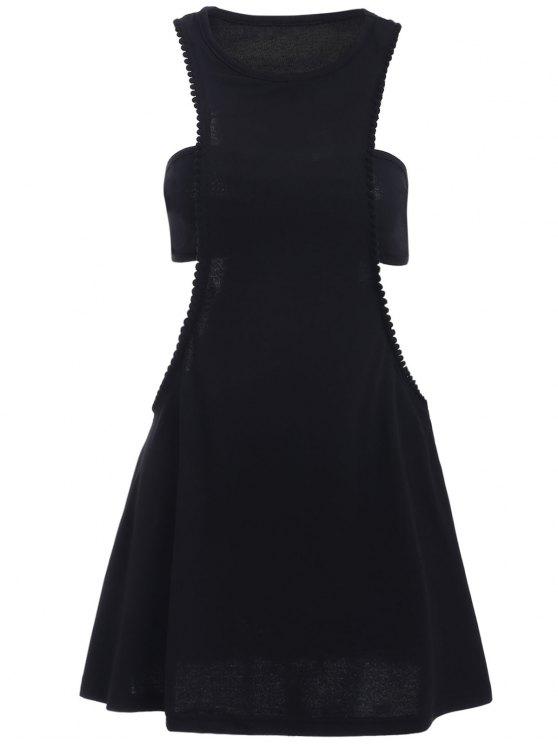 Negro fotografica semi formal mini vestido - Negro XL