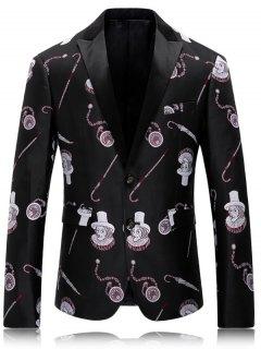 Spliced Lapel Collar All-Over Cartoon Printed Blazer - Black L