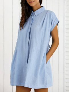 Lace Up Denim Shift Shirt Dress - Light Blue S