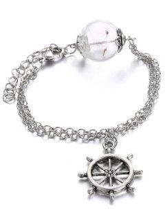 Glass Dry Dandelion Chains Rudder Bracelet - Silver