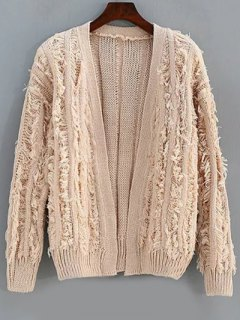 Long Sleeve Fringes Cardigan - Champagne