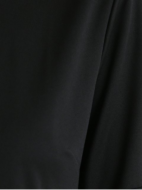 unique Print Round Neck Mini Dress - BLACK XL Mobile