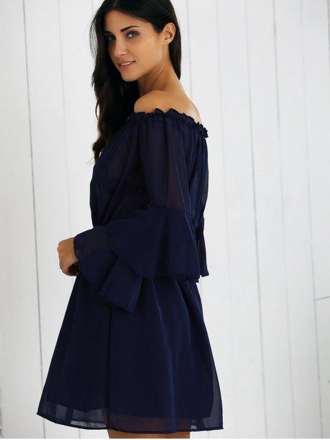 lady Off Shoulder Bell Sleeve Chiffon Dress - DEEP BLUE XL Mobile