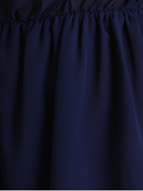 online Off Shoulder Bell Sleeve Chiffon Dress - DEEP BLUE M Mobile