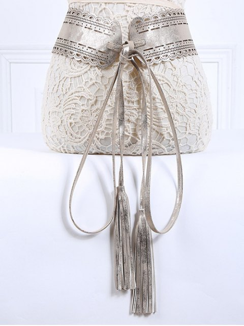 women Long Tassel Pendant Lace-Up PU Belt - SILVER  Mobile