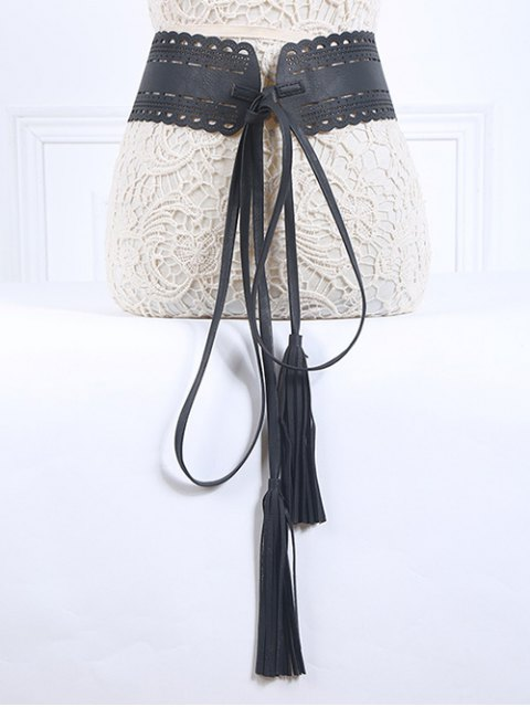 women's Long Tassel Pendant Lace-Up PU Belt - BLACK  Mobile