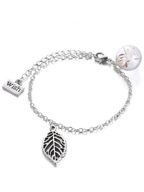 shops Leaf Glass Dry Dandelion Wish Bracelet - SILVER  Mobile