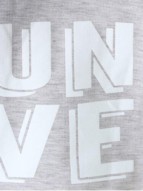 trendy Letter Cropped Sweatshirt - LIGHT GRAY M Mobile