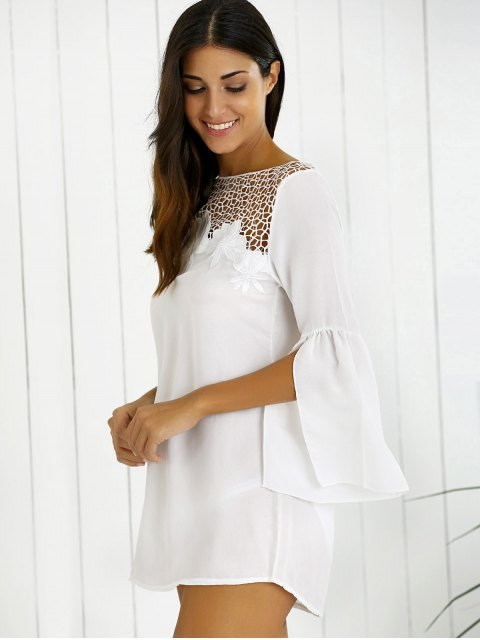 women's Hollow Out Slit Sleeve Dress - WHITE M Mobile