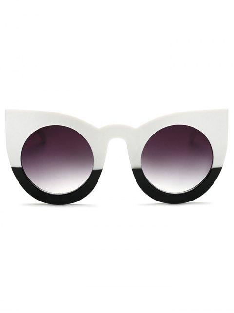 trendy Color Block Cat Eye Sunglasses - WHITE AND BLACK  Mobile