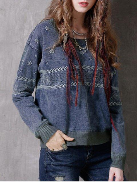 buy Denim Embroidered Sweatshirt - BLUE ONE SIZE Mobile