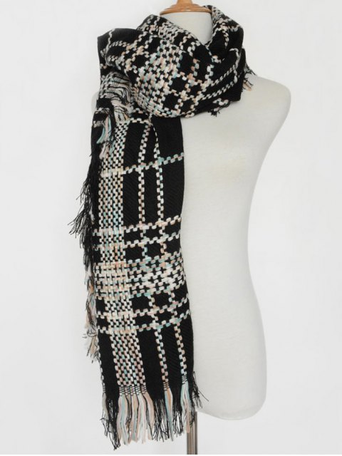 latest Plaid Braid Fringed Shawl Scarf -   Mobile
