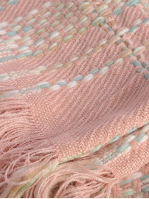 trendy Plaid Braid Fringed Shawl Scarf - PINK  Mobile