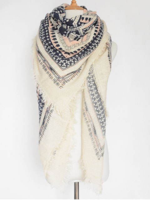 chic Cross Photo Frame Fringed Square Scarf - WHITE  Mobile