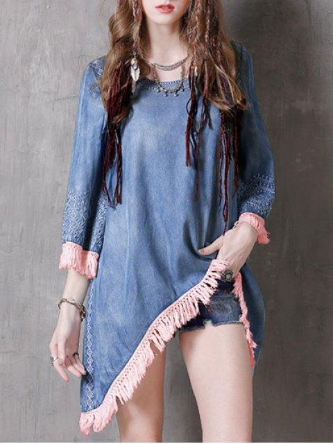 sale Sharkbite Hem Denim Dress - BLUE AND PINK M Mobile