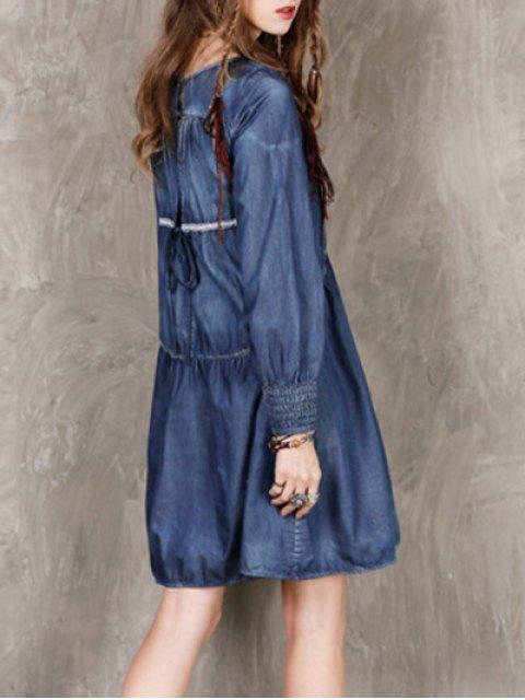 lady Long Sleeve Vintage Denim Dress - BLUE M Mobile