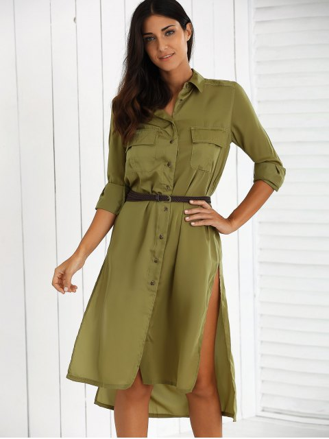 outfits Split High Low Military Shirt Dress with Pocket - GREEN S Mobile