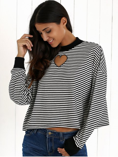 women's Stripe Long Sleeve Cutout Sweatshirt - WHITE AND BLACK S Mobile